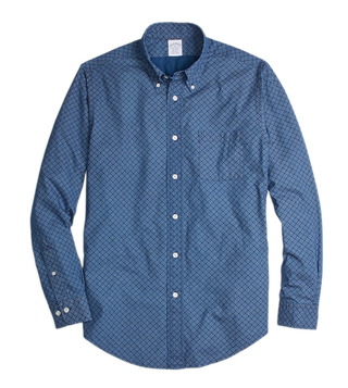 Brooks Brothers Indigo Reg Indigo Diamond Print Sport Shirt