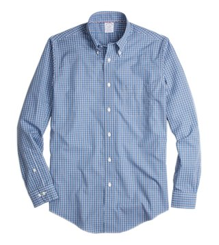 Brooks Brothers Blue NI Reg Blue Mini-Check Sport Shirt