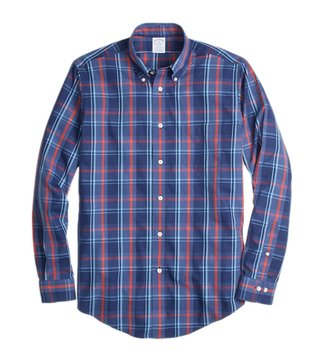 Brooks Brothers Blue & Red Non-Iron Reg Plaid Sport Shirt