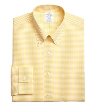 Brooks Brothers Yellow Regent Fit Dobby Gingham Dress Shirt