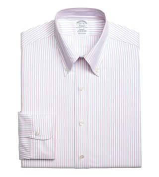 Brooks Brothers Pink Regent Fit Striped Dress Shirt