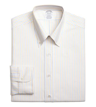 Brooks Brothers Yellow Regent Fit Striped Dress Shirt