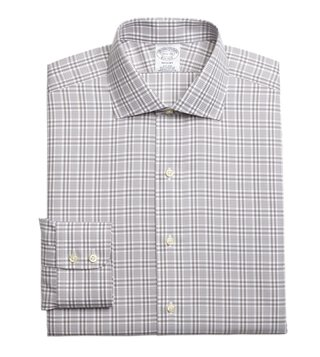 Brooks Brothers Grey Regent Fit Glen Plaid Dress Shirt