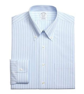 Brooks Brothers Light Blue Regent Fit Striped Dress Shirt