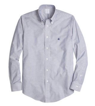 Brooks Brothers Dark Blue NI Reg Oxford Stripe Sport Shirt