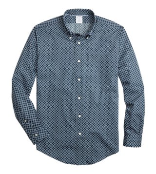 Brooks Brothers Navy Regent Fit Lifesaver Print Sport Shirt