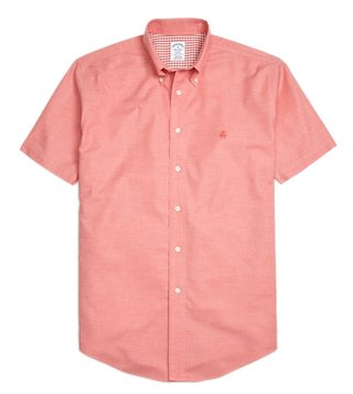 Brooks Brothers Red NI Reg Heathered Oxford SS Sport Shirt