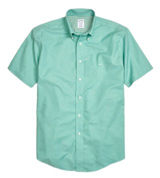 Brooks Brothers Green NI Reg Heathered Oxford SS Sport Shirt