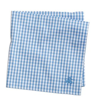 Brooks Brothers Blue Gingham Supima Cotton Pocket Square