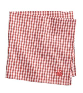 Brooks Brothers Red Gingham Supima Cotton Pocket Square