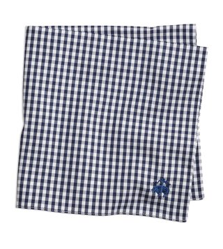 Brooks Brothers Navy Gingham Supima Cotton Pocket Square