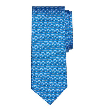 Brooks Brothers Blue Speed Boat Print Tie
