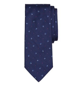 Brooks Brothers Navy Tossed GF on Parquet Tie
