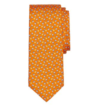 Brooks Brothers Orange Lemon Motif Print Tie