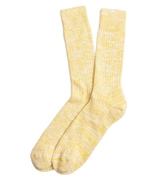 Brooks Brothers Red Fleece Yellow Cotton Ragg Crew Socks