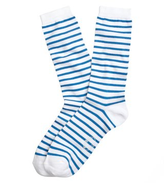 Brooks Brothers Red Fleece Blue Striped Crew Socks