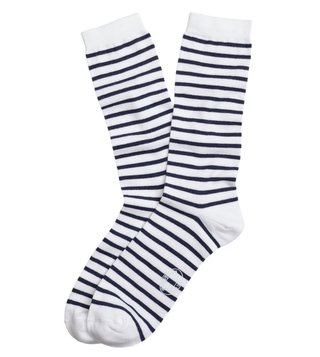 Brooks Brothers Red Fleece Navy Striped Crew Socks