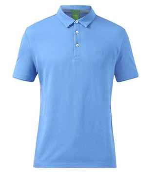 BOSS Green Blue Solid Slim Fit Polo T Shirt 'C-Panova'