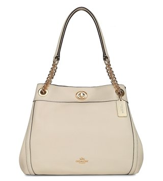 Coach Turnlock Edie Chalk Pebble Leather Shoulder Bag