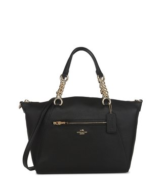 Coach Prairie Black Polished Pebble Leather Satchel