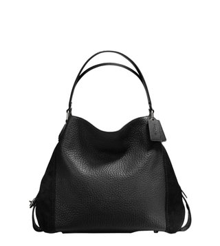 Coach Edie 42 Black Mixed Leather Shoulder Bag