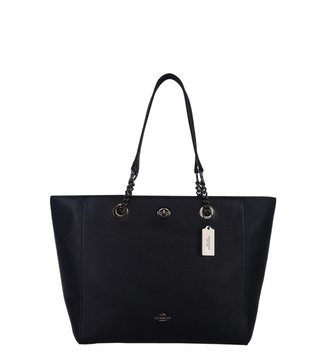 Coach Turnlock Chain Navy Tote Bag