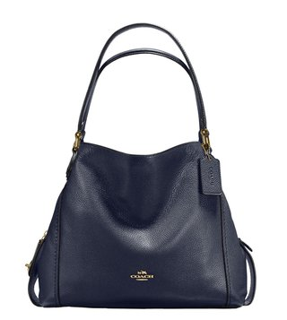 Coach Edie 31 Navy Leather Shoulder Bag