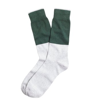 Brooks Brothers Red Fleece Green & Grey Color Block Socks