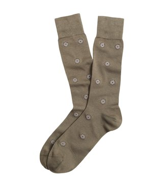 Brooks Brothers Red Fleece Olive Medallion Crew Socks