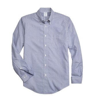 Brooks Brothers Blue Regent Fit Bengal Striped Sport Shirt