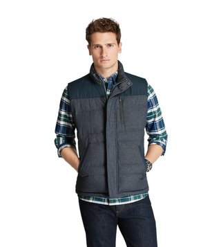 Brooks Brothers Red Fleece Denim Quilted Down Vest