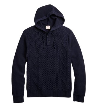 Brooks Brothers Red Fleece Navy Cable-Knit Hoodie