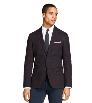 Brooks Brothers Red Fleece Navy Plaid Stretch-Cotton Sport Coat