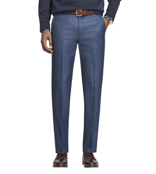 Brooks Brothers Blue Milano Fit Wool Trousers