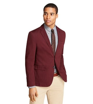 Brooks Brothers Red Fleece Burgundy Garment-Dyed Cotton Sport Coat