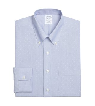 Brooks Brothers Blue Regent Fit Dobby Hairline Dress Shirt