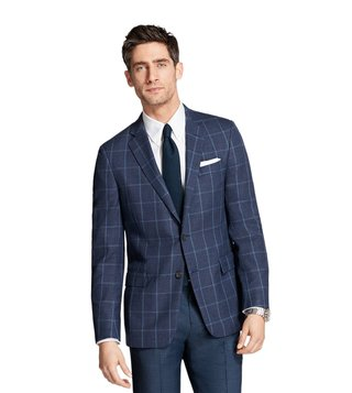 Brooks Brothers Regent Fit Navy Hopsack Windowpane Sport Coat