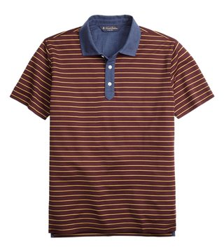 Brooks Brothers Burgundy & Yellow Stripe Polo T Shirt