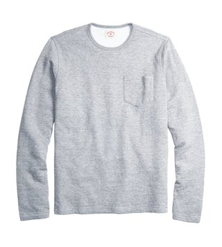 Brooks Brothers Red Fleece Grey Double-Knit Pique LS T Shirt