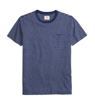 Brooks Brothers Red Fleece Indigo & White Striped T Shirt