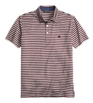 Brooks Brothers Burgundy & Grey Slim Fit Polo T Shirt