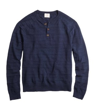 Brooks Brothers Red Fleece Navy Stripe Linen Blend Sweater
