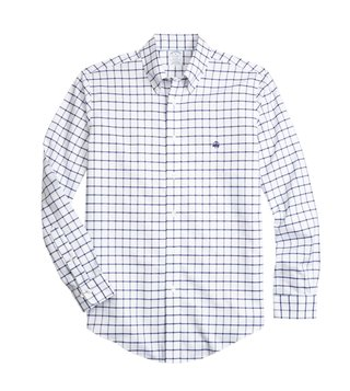 Brooks Brothers Regent Fit Blue Windowpane Sport Shirt