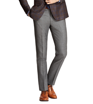 Brooks Brothers Grey Milano Fit Wool Trousers