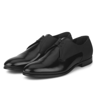 Alberto Guardiani Black Patent Leather The Dark Derby Shoes