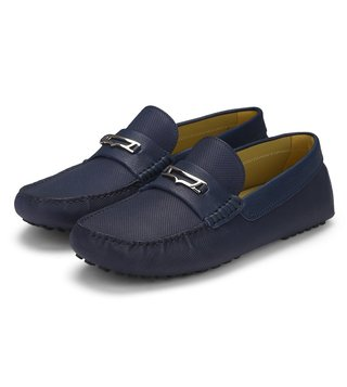 Alberto Guardiani Blue Leather Vulcano Moccasins
