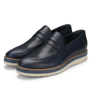 Alberto Guardiani Blue Leather Aldon Loafers