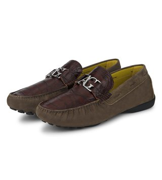 Alberto Guardiani Brown Leather Ronda Moccasins