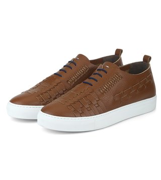 Alberto Guardiani Brown Leather Stripes Sneakers