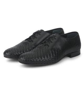 Alberto Guardiani Black Leather Hilton Brogue Shoes